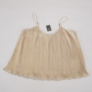 NWT Champagne Gold Pleated Tank